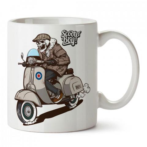 Scooter Boy İskelet Motosiklet tasarım baskılı porselen kupa bardak modelleri (mug bardak). Kahve kupası.