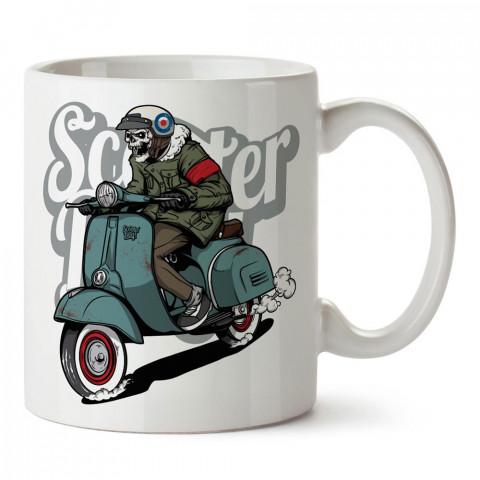 Scooterli İskelet Scooter Boy Motosiklet tasarım baskılı porselen kupa bardak modelleri (mug bardak). Kahve kupası.