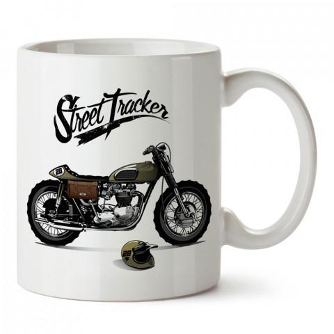 Street Tracker Motosiklet tasarım baskılı porselen kupa bardak modelleri (mug bardak).Kahve kupası.