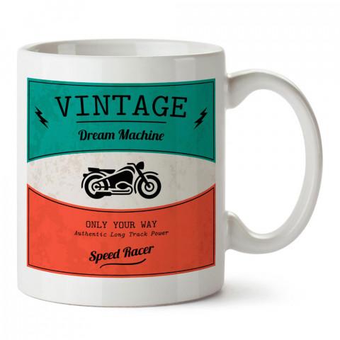 Vintage 1973 Motosiklet tasarım baskılı porselen kupa bardak modelleri (mug bardak). Kahve kupası.