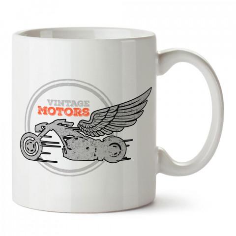 Vintage Motors Kanatlı Motosiklet tasarım baskılı porselen kupa bardak modelleri (mug bardak). Kahve kupası.