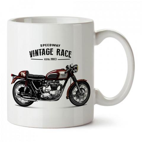 Vintage Race Motosiklet tasarım baskılı porselen kupa bardak modelleri (mug bardak). Kahve kupası.
