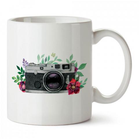 Çiçek Desenli Fotoğraf Makinesi tasarım baskılı porselen kupa bardak modelleri (mug bardak). Kahve kupası.