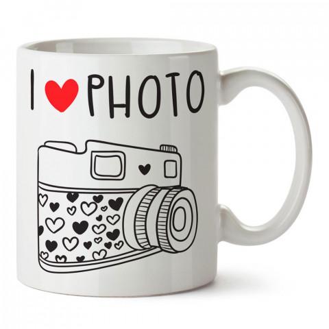 I Love Photo Karakalem tasarım baskılı porselen kupa bardak modelleri (mug bardak). Kahve kupası.