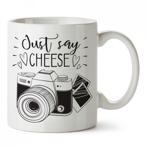 Just Say Cheese tasarım baskılı porselen kupa bardak modelleri (mug bardak). Kahve kupası.