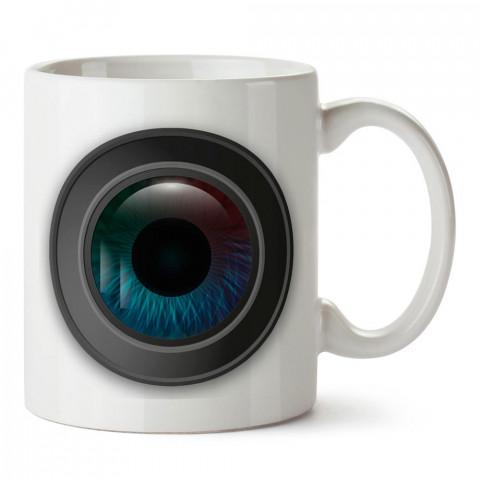 Lens İçi Göz tasarım baskılı porselen kupa bardak modelleri (mug bardak). Kahve kupası.