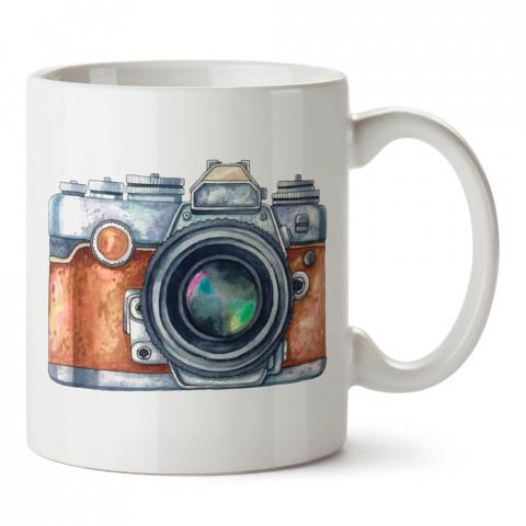 Sulu Boya Fotoğraf Makinesi tasarım baskılı porselen kupa bardak modelleri (mug bardak). Kahve kupası.