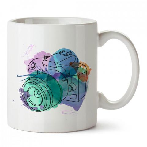 Watercolor Fotoğraf Makinesi tasarım baskılı porselen kupa bardak modelleri (mug bardak). Kahve kupası.