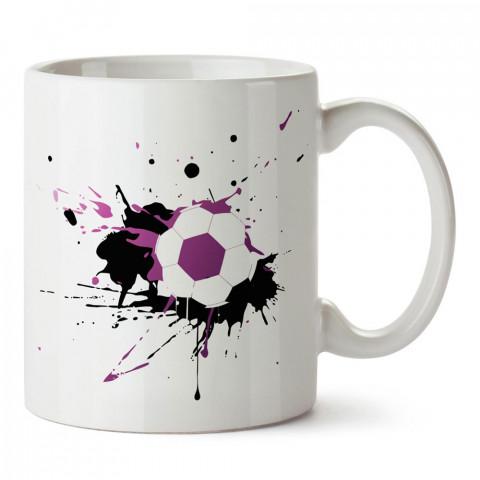 Boya Efektli Futbol Topu Tasarım baskılı porselem kupa bardak modelleri (mug bardak). Kahve kupası.