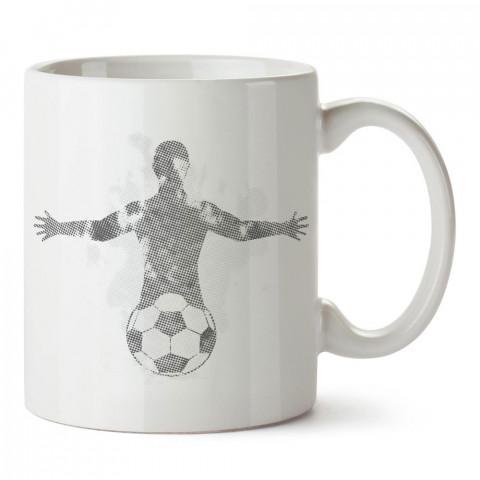 Futbol Topu ve İnsan Silüeti Tasarım baskılı yıkanabilir porselen kupa bardak modelleri (mug bardak). Kahve kupası.