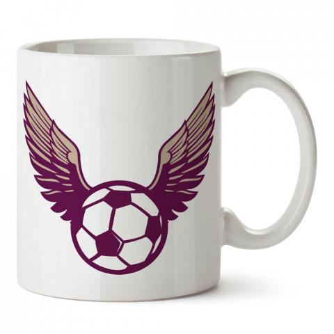 Kanatlı Futbol Topu tasarım baskılı porselen kupa bardak modelleri (mug bardak). Kahve kupası.