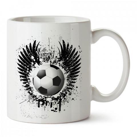 Kanatlı ve Boya Efektli Futbol Topu baskılı porselen kupa bardak modelleri (mug bardak). Kahve kupası.
