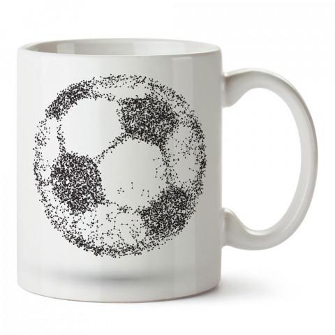 Piksel Futbol Topu Tasarım baskılı porselen kupa bardak modelleri (mug bardak). Kahve kupası.