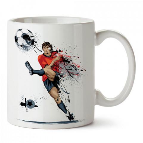 Boya Efektli Şut Çeken Futbolcu Tasarım baskılı porselen kupa bardak modelleri (mug bardak). Kahve kupası.