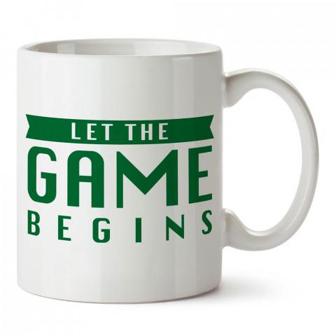 Oyun Başlasın Yazılı Tasarım baskılı porselen kupa bardak modelleri (mug bardak). Kahve kupası.