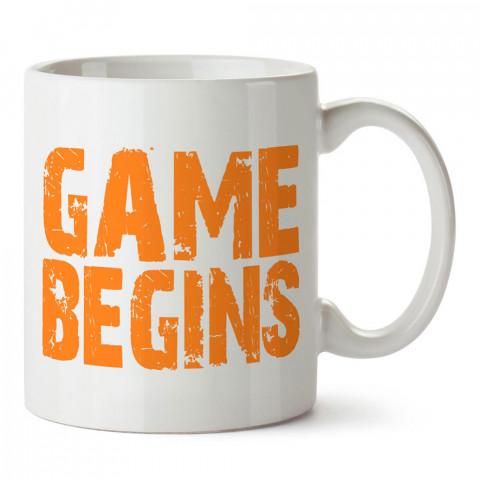 Game Begins Tasarım baskılı porselen kupa bardak modelleri (mug bardak). Kahve kupası.