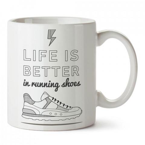 Hayat Koşu Ayakkabılarıyla Daha İyi Tasarım baskılı porselen kupa bardak modelleri (mug bardak). Kahve kupası.
