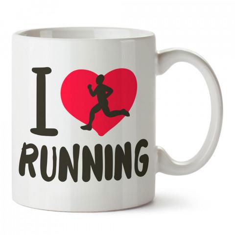 I Love Running Tasarım baskılı porselen kupa bardak modelleri (mug bardak). Kahve kupası.