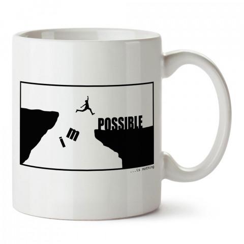 Impossible Is Nothing tasarım baskılı porselen kupa bardak modelleri (mug bardak). Kahve kupası.