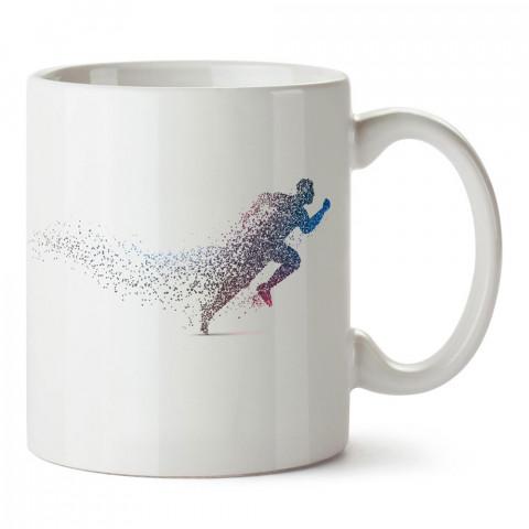 Renkli Koşan İnsan Silüeti tasarım baskılı porselen kupa bardak modelleri (mug bardak). Kahve kupası.