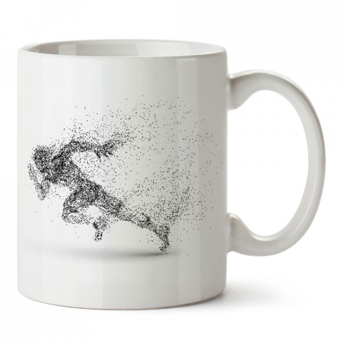Piksel Koşucu Silüeti tasarım baskılı porselen kupa bardak modelleri (mug bardak). Kahve kupası.
