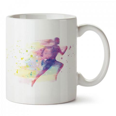 Sulu Boya Çizimli Koşucu Kadın tasarım baskılı porselen kupa bardak modelleri (mug bardak). Kahve kupası.