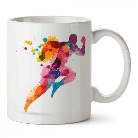 Sulu Boya Çizimli Koşucu tasarım baskılı porselen kupa bardak modelleri (mug bardak). Kahve kupası.