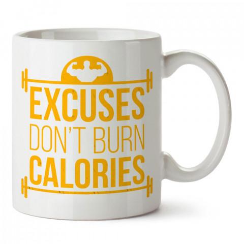 Bahaneler Kalori Yakmaz tasarım baskılı porselen kupa bardak modelleri (mug bardak). Bodyci, fitnesscı ve vücut geliştirici için hediye. Kahve kupası.