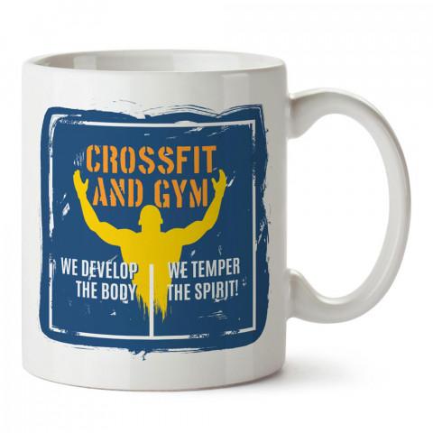 Crossfit And Gym tasarım baskılı porselen kupa bardak modelleri (mug bardak). Bodyci, fitnesscı ve vücut geliştirici için hediye. Kahve kupası.
