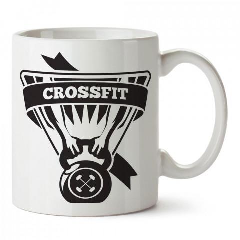 Crossfit Work tasarım baskılı porselen kupa bardak modelleri (mug bardak). Bodyci, fitnesscı ve vücut geliştirici için hediye. Kahve kupası.