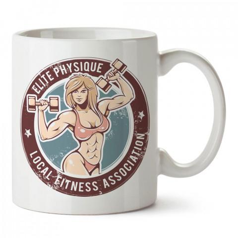 Elite Physque Kadın Fitnesscı baskılı porselen kupa bardak modelleri (mug bardak). Bodyci, fitnesscı ve vücut geliştirici için hediye. Kahve kupası.