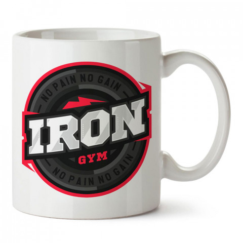Iron Gym No Pain No Gain tasarım baskılı porselen kupa bardak modelleri (mug bardak). Bodyci, fitnesscı ve vücut geliştirici için hediye. Kahve kupası.