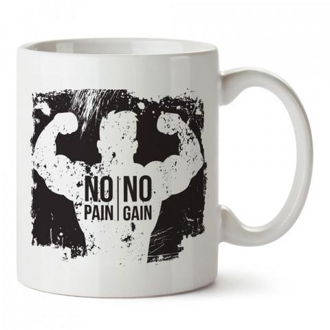 No Pain No Gain Siyah Çizim tasarım baskılı porselen kupa bardak modelleri (mug bardak). Bodyci, fitnesscı ve vücut geliştirici için hediye. Kahve kupası.