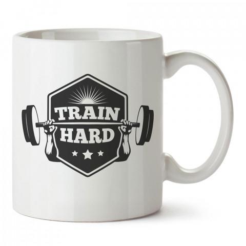 Sıkı Çalış tasarım baskılı porselen kupa bardak modelleri (mug bardak). Bodyci, fitnesscı ve vücut geliştirici için hediye. Kahve kupası.
