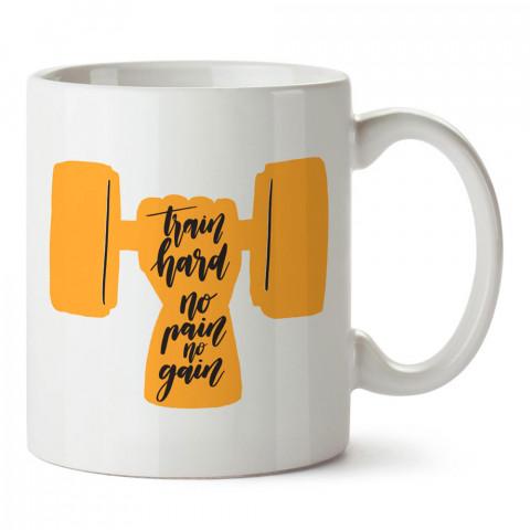Train Hard No Pain No Gain tasarım baskılı porselen kupa bardak modelleri (mug bardak). Bodyci, fitnesscı ve vücut geliştirici için hediye. Kahve kupası.