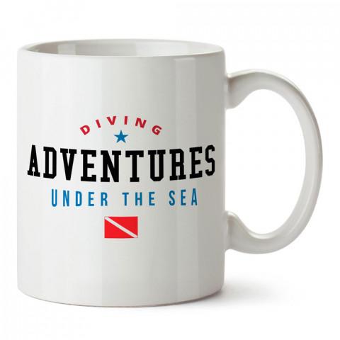 Dalış Maceraları tasarım baskılı porselen kupa bardak modelleri (mug bardak). Dalgıçlara, scuba ve deniz severlere en güzel hediye. Kahve kupası.