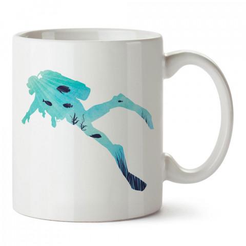 Deniz Desenli Dalgıç tasarım baskılı porselen kupa bardak modelleri (mug bardak). Dalgıçlara, dalış, scuba ve deniz severlere hediye. Kahve kupası.