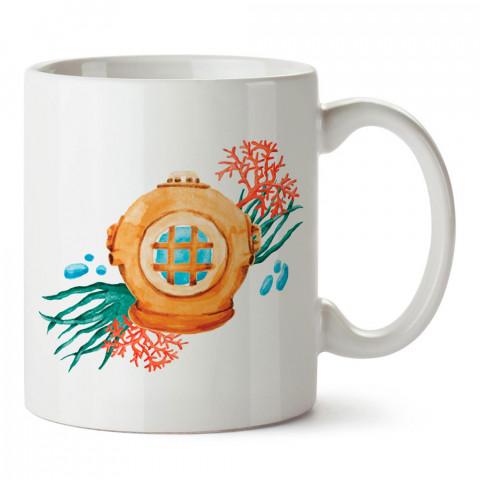 Eski Dalgıç Başlığı tasarım baskılı porselen kupa bardak modelleri (mug bardak). Dalgıçlara, dalış, scuba ve deniz severlere hediye. Kahve kupası.