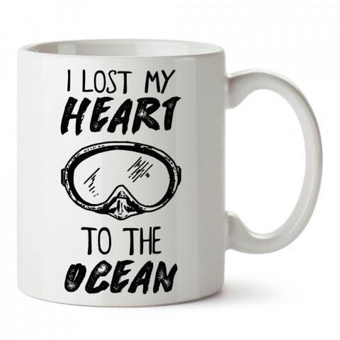 Kalbimi Okyanusa Kaptırdım tasarım baskılı porselen kupa bardak modelleri (mug bardak). Dalgıçlara, scuba ve deniz severlere hediye. Kahve kupası.