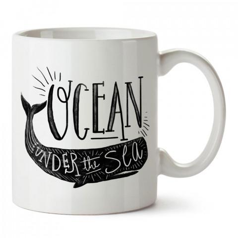 Ocean Balina tasarım baskılı porselen kupa bardak modelleri (mug bardak). Dalgıçlara, dalış, scuba ve deniz severlere en güzel hediye. Kahve kupası.
