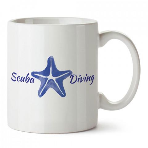 Scuba Diving Deniz Yıldızı tasarım baskılı porselen kupa bardak modelleri (mug bardak). Dalgıçlara, dalış, scuba ve deniz severlere hediye. Kahve kupası.