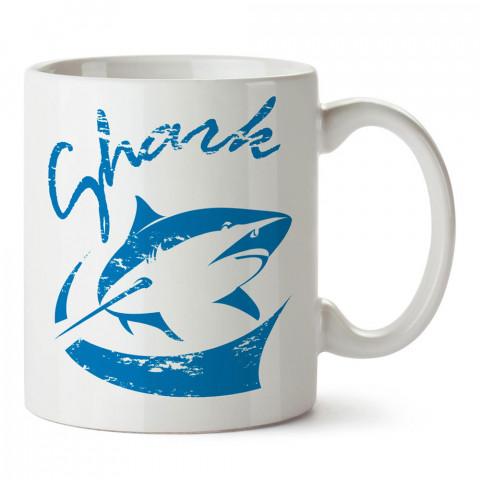 Mavi Shark  Köpek Balığı tasarım baskılı porselen kupa bardak modelleri (mug bardak). Dalgıçlara, dalış, scuba ve deniz severlere hediye. Kahve kupası.