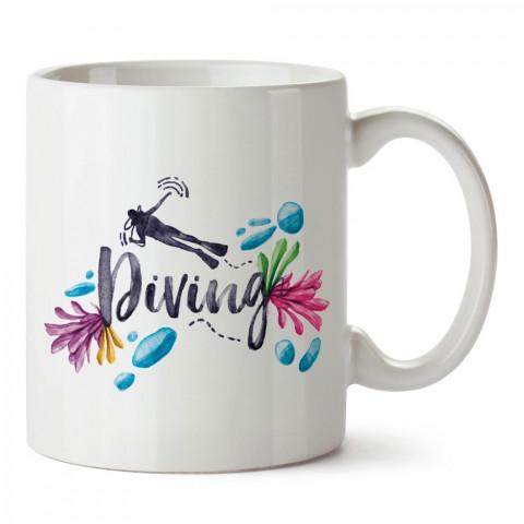 Sulu Boya Dalgıç Desenli tasarım baskılı porselen kupa bardak modelleri (mug bardak). Dalgıçlara, dalış, scuba ve deniz severlere hediye. Kahve kupası.