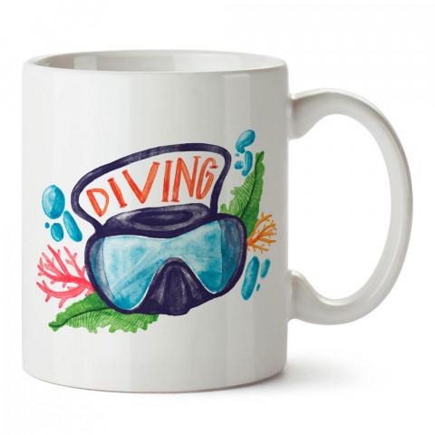Sulu Boya Diving tasarım baskılı porselen kupa bardak modelleri (mug bardak). Dalgıçlara, dalış, scuba ve deniz severlere hediye. Kahve kupası.