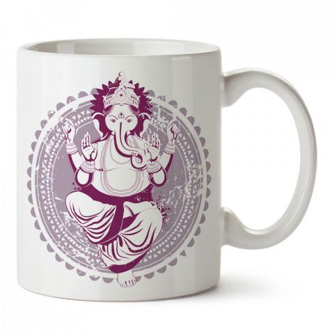 Fil Tanrı Ganesha Yoga tasarım baskılı porselen kupa bardak modelleri (mug bardak). Yogi, yogini, yogacı ve yoga severlere hediye. Kahve kupası.