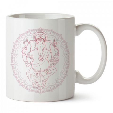 Hindu Ganesha Yoga tasarım baskılı porselen kupa bardak modelleri (mug bardak). Yogi, yogini, yogacı ve yoga severlere hediye. Kahve kupası.