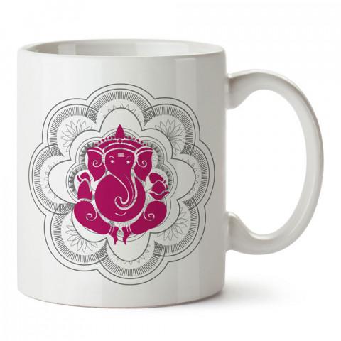 Mor Ganesha Yoga tasarım baskılı porselen kupa bardak modelleri (mug bardak). Yogi, yogini, yogacı ve yoga severlere hediye. Yoga felsefesi kahve kupası.