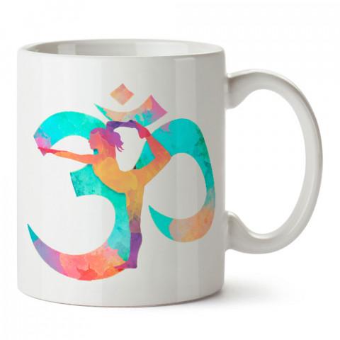 Om Yoga Yogini tasarım baskılı porselen kupa bardak modelleri (mug bardak). Yogi, yogini, yogacı ve yoga severlere hediye. Yoga felsefesi kahve kupası.