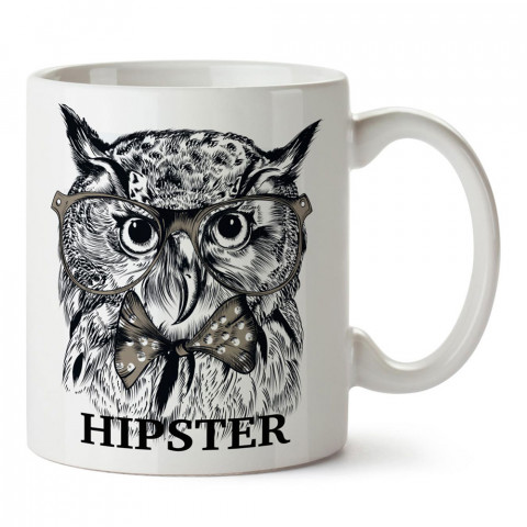 Gözlüklü Hipster Baykuş tasarım baskılı porselen kupa bardak modelleri (mug bardak). Hipsterlere, hipster stili sevenlere hediye. Kahve kupası.