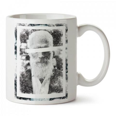Gözü Bantlı Yaşlı Hipster tasarım baskılı porselen kupa bardak modelleri (mug bardak). Hipstere, hipster stili sevenlere hediye. Kahve kupası.